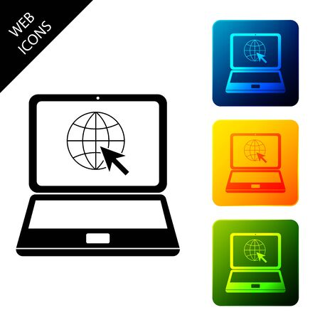 Website on laptop screen icon isolated on white background. Laptop with globe and cursor. World wide web symbol. Set icons colorful square buttons. Vector Illustration
