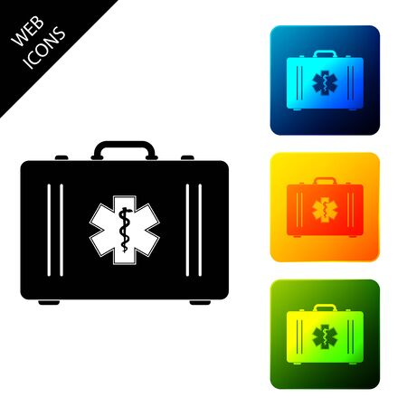 First aid kit and Medical symbol of the Emergency - Star of Life. Medical box with cross. Medical equipment for emergency. Healthcare concept. Set icons colorful square buttons. Vector Illustration 向量圖像