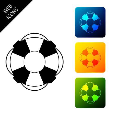 Lifebuoy icon isolated on white background. Lifebelt symbol. Set icons colorful square buttons. Vector Illustration