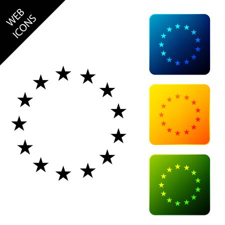 Flag of European Union icon isolated on white background. EU circle symbol. Waving EU flag. Set icons colorful square buttons. Vector Illustration