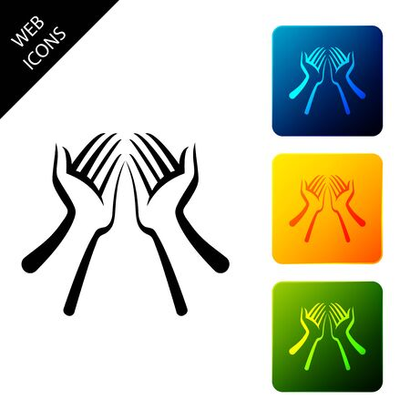 Hands icon isolated on white background. Set icons colorful square buttons. Vector Illustration