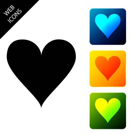 Heart icon isolated on white background. Love symbol. Valentines Day sign. Set icons colorful square buttons. Vector Illustration