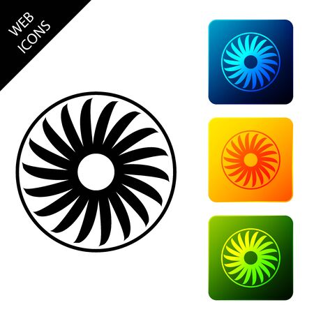 Ventilator symbol icon isolated on white background. Ventilation sign. Set icons colorful square buttons. Vector Illustration Ilustrace
