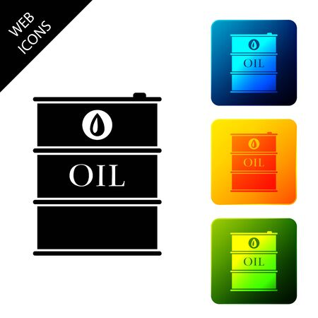 Oil barrel icon isolated on white background. Oil drum container. For infographics, fuel, industry, power, ecology. Set icons colorful square buttons. Vector Illustration Ilustrace
