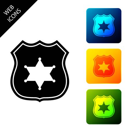 Police badge icon isolated on white background. Sheriff badge sign. Set icons colorful square buttons. Vector Illustration  イラスト・ベクター素材