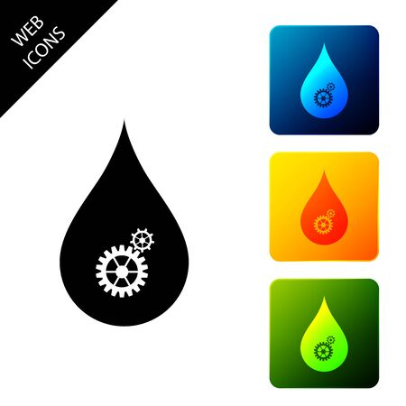 Drop with gears icon isolated on white background. Abstract concept for ecology theme, green eco energy, technology and industry. Set icons colorful square buttons. Vector Illustration Ilustrace