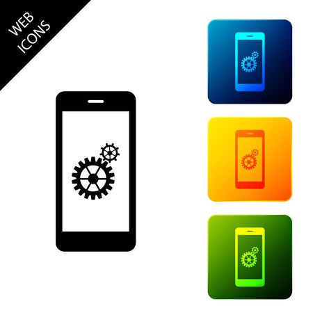 Setting on smartphone screen icon on white background. Mobile phone and gear sign. Adjusting app, set options, repair, fixing phone concepts. Set icons colorful square buttons. Vector Illustration
