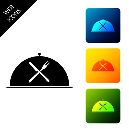 Cloche with crossed fork and knife icon isolated on white background. Restaurant symbol. Set icons colorful square buttons. Vector Illustration