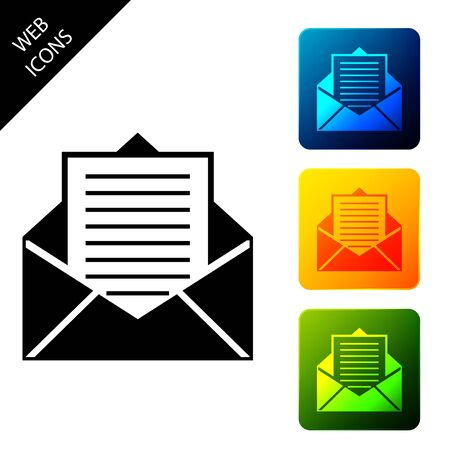 Mail and e-mail icon isolated on white background. Envelope symbol e-mail. Email message sign. Set icons colorful square buttons. Vector Illustration Ilustrace