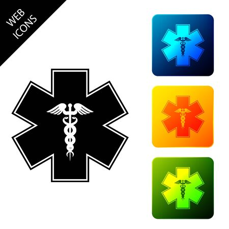 Emergency star - medical symbol Caduceus snake with stick icon isolated on white background. Star of Life. Set icons colorful square buttons. Vector Illustration Ilustrace