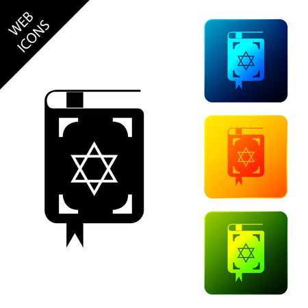 Jewish torah book icon on white background. The Book of the Pentateuch of Moses. On the cover of the Bible is the image of the Star of David. Set icons colorful square buttons. Vector Illustration