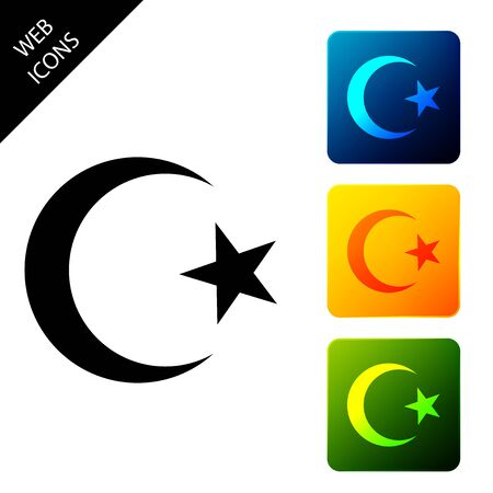 Star and crescent - symbol of Islam icon isolated on white background. Religion symbol. Set icons colorful square buttons. Vector Illustration Banque d'images - 129306884