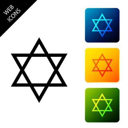 Star of David icon isolated on white background. Jewish religion symbol. Set icons colorful square buttons. Vector Illustration Banque d'images - 129302031