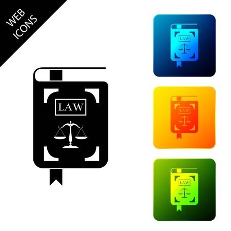 Law book statute book with scales of justice icon isolated on white background. Set icons colorful square buttons. Vector Illustration Standard-Bild - 129302034