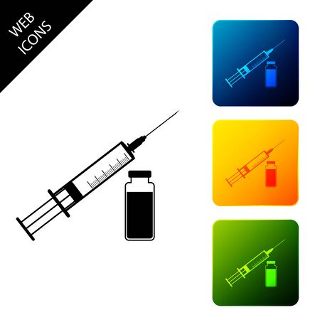 Medical syringe with needle and vial or ampoule icon isolated on white background. Vaccination, injection, vaccine, insulin concept. Set icons colorful square buttons. Vector Illustration