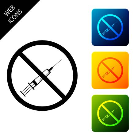 No vaccine icon isolated on white background. No syringe sign. Vaccination, injection, vaccine, insulin concept. Set icons colorful square buttons. Vector Illustration