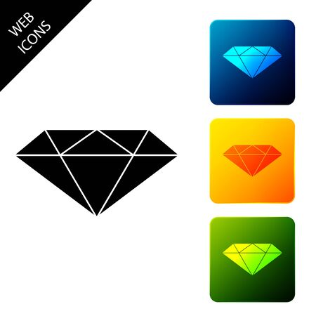 Diamond icon isolated on white background. Jewelry symbol. Gem stone. Set icons colorful square buttons. Vector Illustration Standard-Bild - 129302051