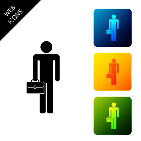 Businessman man with briefcase icon isolated on white background. Set icons colorful square buttons. Vector Illustration 向量圖像