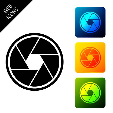 Camera shutter icon isolated on white background. Set icons colorful square buttons. Vector Illustration