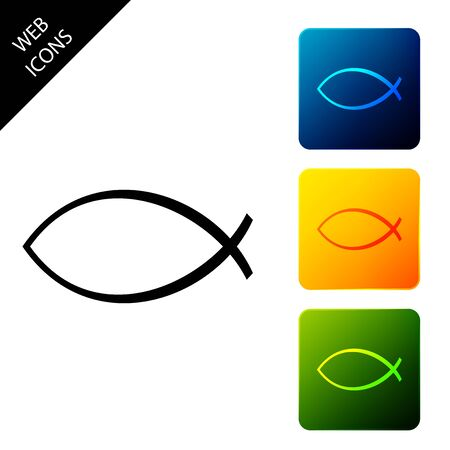 Christian fish symbol icon isolated on white background. Jesus fish symbol. Set icons colorful square buttons. Vector Illustration 일러스트