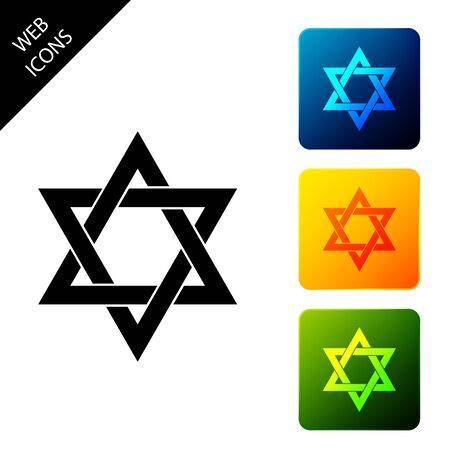 Star of David icon isolated on white background. Jewish religion symbol. Set icons colorful square buttons. Vector Illustration