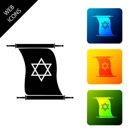 Torah scroll icon isolated on white background. Jewish Torah in expanded form. Torah Book sign. Star of David symbol. Simple old parchment scroll. Set icons colorful square button. Vector Illustration
