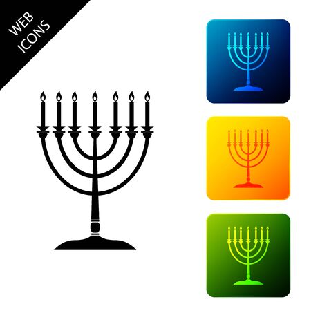 Hanukkah menorah icon isolated on white background. Religion icon. Hanukkah traditional symbol. Holiday religion, jewish festival of Lights. Set icons colorful square buttons. Vector Illustration