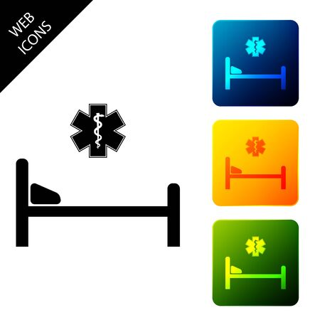 Hospital Bed with Medical symbol of the Emergency - Star of Life icon isolated on white background. Set icons colorful square buttons. Vector Illustration