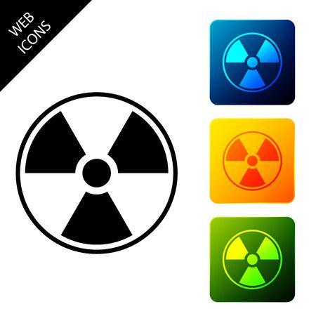 Icône radioactive isolée. Symbole toxique radioactif. Signe de danger de rayonnement. Définir des icônes de boutons carrés colorés. Illustration vectorielle Vecteurs