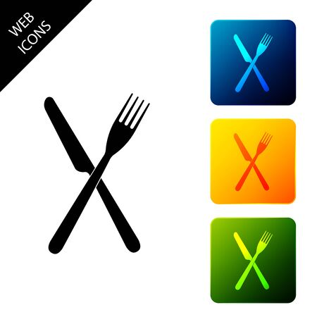 Crossed fork and knife icon isolated. Restaurant icon. Set icons colorful square buttons. Vector Illustration