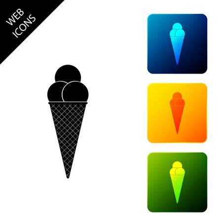 Ice cream in waffle cone icon isolated. Set icons colorful square buttons. Vector Illustration