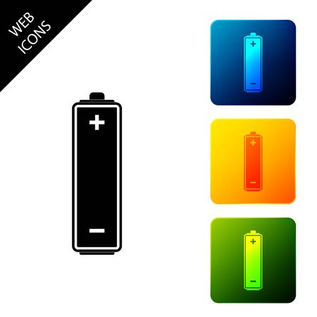Battery icon isolated. Set icons colorful square buttons. Vector Illustration Ilustração