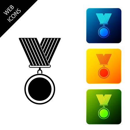 Medal icon isolated. Winner symbol. Set icons colorful square buttons. Vector Illustration
