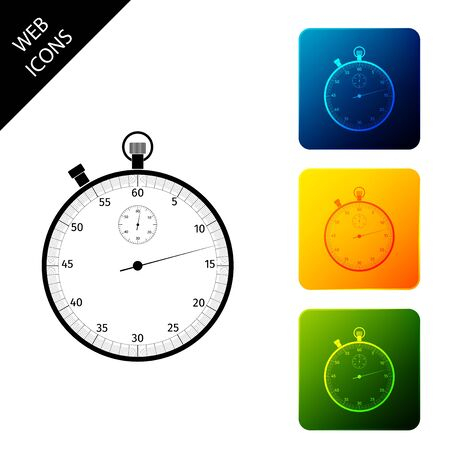 Classic stopwatch icon isolated. Timer icon. Chronometer sign. Set icons colorful square buttons. Vector Illustration 向量圖像