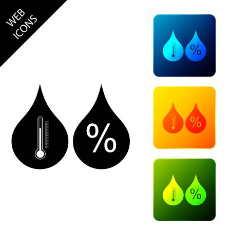 Humidity icon isolated. Weather and meteorology, thermometer symbol. Set icons colorful square buttons. Vector Illustration