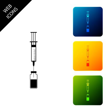 Medical syringe with needle and vial or ampoule icon isolated. Vaccination, injection, vaccine, insulin concept. Set icons colorful square buttons. Vector Illustration Illusztráció