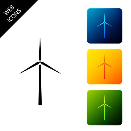 Wind turbine icon isolated. Wind generator sign. Windmill silhouette. Windmills for electric power production. Set icons colorful square buttons. Vector Illustration