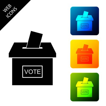 Vote box or ballot box with envelope icon isolated. Set icons colorful square buttons. Vector Illustration Иллюстрация