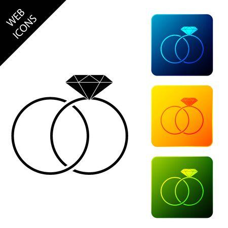 Icono de anillos de boda aislado. Signo de joyería de novios. Icono de matrimonio. Icono de anillo de diamantes. Establecer iconos coloridos botones cuadrados. Ilustración vectorial