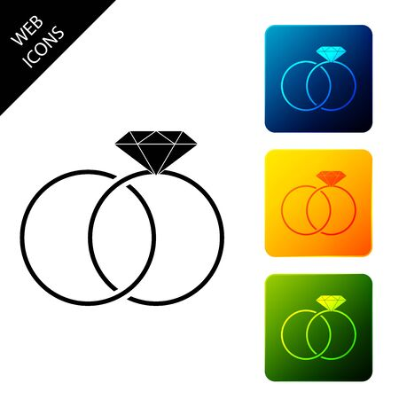 Wedding rings icon isolated. Bride and groom jewelery sign. Marriage icon. Diamond ring icon. Set icons colorful square buttons. Vector Illustration Standard-Bild - 129306734