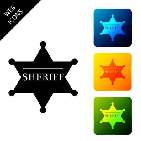 Hexagonal sheriff star icon isolated. Sheriff badge symbol. Set icons colorful square buttons. Vector Illustration Illustration