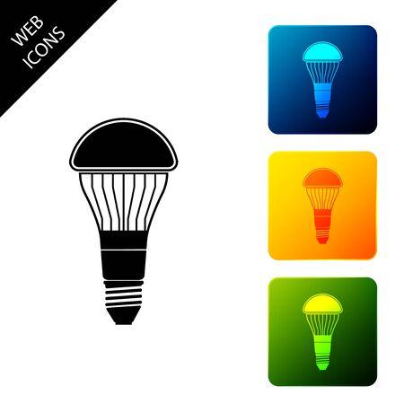 LED light bulb icon isolated. Economical LED illuminated lightbulb. Save energy lamp. Set icons colorful square buttons. Vector Illustration Ilustração