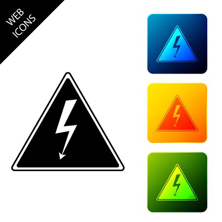 High voltage sign icon isolated. Danger symbol. Arrow in triangle. Warning icon. Set icons colorful square buttons. Vector Illustration