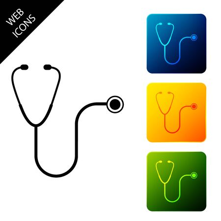 Stethoscope medical instrument icon isolated. Set icons colorful square buttons. Vector Illustration