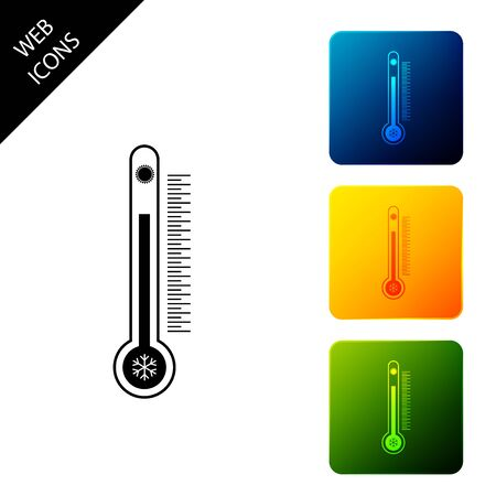 Thermometer with scale measuring heat and cold, with sun and snowflake icon isolated. Set icons colorful square buttons. Vector Illustration 向量圖像