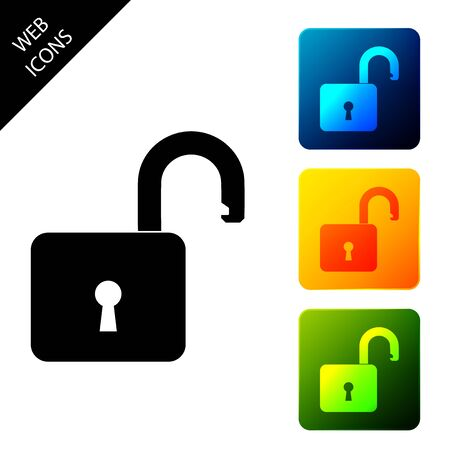 Open padlock icon isolated. Opened lock sign. Cyber security concept. Digital data protection. Safety safety. Set icons colorful square buttons. Vector Illustration