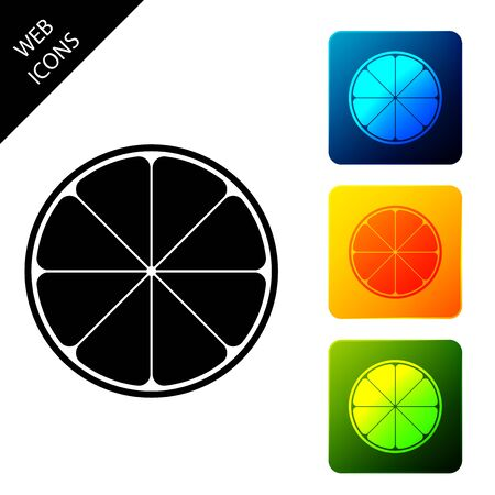 Orange in a cut. Citrus fruit icon isolated. Healthy lifestyle. Set icons colorful square buttons. Vector Illustration