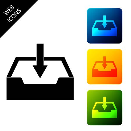 Download inbox icon isolated. Set icons colorful square buttons. Vector Illustration  イラスト・ベクター素材