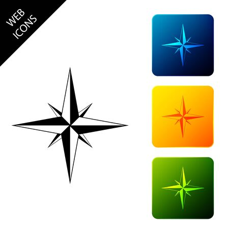 Wind rose icon isolated. Compass icon for travel. Navigation design. Set icons colorful square buttons. Vector Illustration