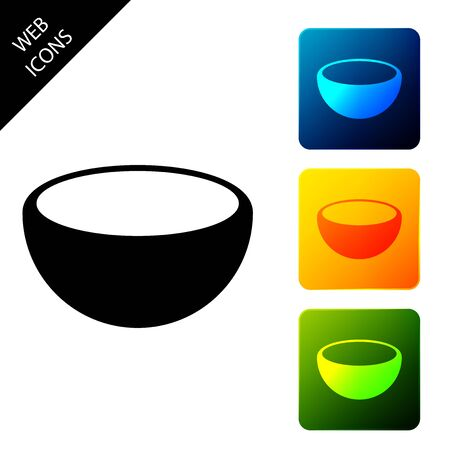 Bowl icon isolated. Set icons colorful square buttons. Vector Illustration